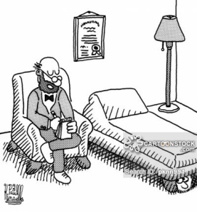 Psychiatrist with a patient who is hiding under the couch.